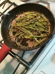 """I used FRESH Asparagus. I read a little tip somewhere that said to """"break"""" the ends off that is tough and chewy instead of cutting. To ensure the really tough end is off, breaking it at it's natural breaking point helps with that. (Interesting...) After cutting & rinsing the asparagus. Melt butter in the pan & add either fresh garlic or I used the Spice World Garlic in EVOO (sold in the jar). Sautee the garlic in the butter just a little bit (don't let it burn!) add the asparagus & cook for about 7-10 minutes.  The taste was amazing!!!"""