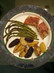 Honey Glazed Salmon, Garlic Butter Asparagus & Roasted Baby Potatoes Medley